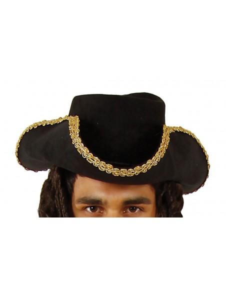 Μαύρο Πειρατικό Καπέλο με Πλεξούδα Ενηλίκων