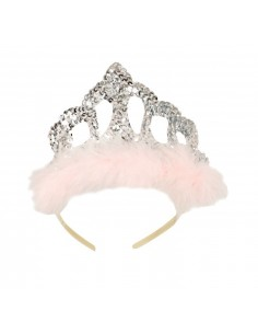 Silver Sequins Tiara with Pink Feathers