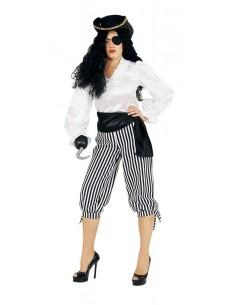 Γυναικείο ασπρόμαυρο ριγέ πειρατικό παντελόνι